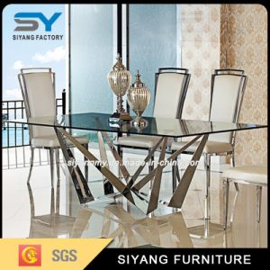 Stainless Steel Furniture Square Long Glass Dining Table