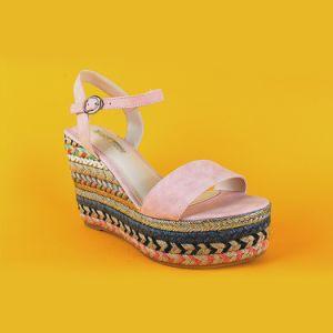e855fc6fec China Ladies Open Toe High Heel Wedge Pink Suede Sandals Espadrilles ...