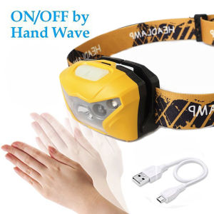 USB Port Rechargeable All Vision Sensitive-Control LED Headlamp (Yellow)