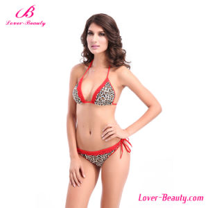 Red Lace Trim Sexy Mature Bikini Swimwear