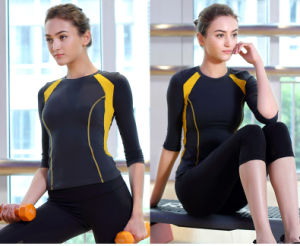Woman Fitness Two-Tone 92% Nylon 8% Spandex Sportwear Yoga Shirt pictures & photos