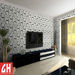 China Black And White Waterproof Wallpaper Design For Tv Background
