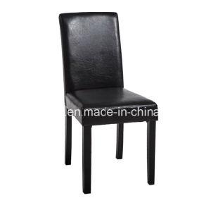2pcs Black Pu Dining Chairs Wooden Legs