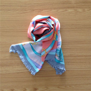 Printed Silk Satin Scarf with Fringe on Both Sides