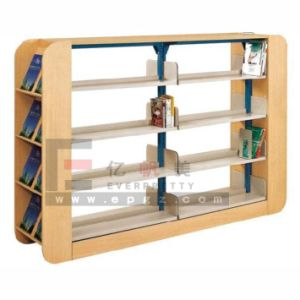 Double Side Shelves Adjustable 4 Layers Library Shelf for Book with Metal Frame Sf-07b pictures & photos