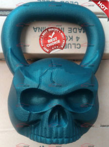 China Factory OEM Cast Iron Skull Shaped Kettlebell with Face