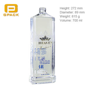 700ml Flat Rectangular Lemon Orange Juice Vodka Whisky Bottle with Wide Base Blue Gin Jack Daniels Glass Bottle