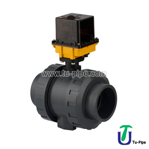 PVC Uh True Ball Valve for Acid, with Electric Actuator One Side Female Threaded (24 V DC) Emergency Manual Control pictures & photos