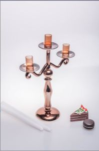 Rose Golden Glass Candle Holder for Wedding Decoration pictures & photos