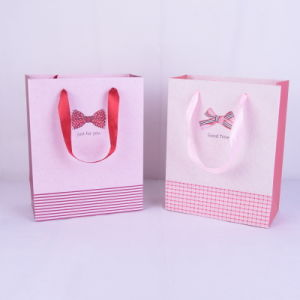 Pink Printed Paper Shopping Bag/Paper Gift Bag with Ribbon