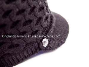 100% Acrylic Knitted Hollowed Cap with Braid and Metal Button pictures & photos