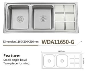 Stainless Steel Kitchen Double Bowl Single Board Sink Wda11650-G