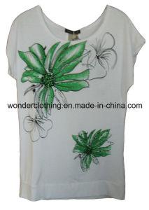 Dames Strass Zeefdruk Fashion Design T Met shirt Katoenen n0wOkP