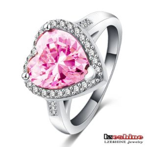 Female Pink Brass Inlaid Heart Zircon Cocktail Party Ring (CRI0056-B)
