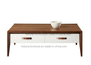 Modern Wooden Walnut & White Coffee Table (Camel 601)