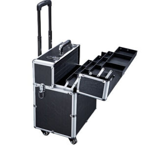 The Black Make-up Cases with Wheels and Handlebar (hx-q029) pictures & photos