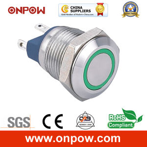 Onpow 12mm Flat Head Push Button Switch (GQ12F-10E/R/12V/S, CE, RoHS) pictures & photos
