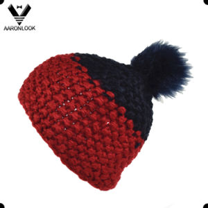 Fashion Thick Yarn Hand Knit Hat with Fur Ball