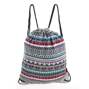 New Fashion Ladies Canvas Gymsack Drawstring Sport Bag pictures & photos