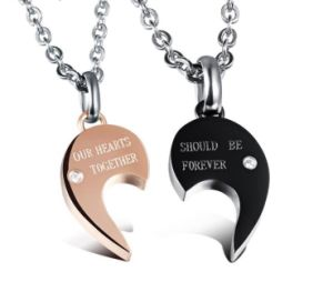 Fashion Jewelry Stainless Steel Crystal Commitment Couple/'s Fashion Necklace