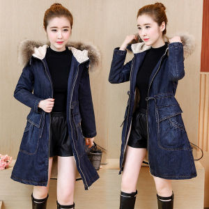 ff5513e3317b5 2018 Fox Fur Hooded Women Winter Denim Jacket Coat Cotton Inner Denim Coat  Outerwear Wool Fur Basic Denim Jacket Ladies Long Sleeve Cotton Velvet  Jeans Coat