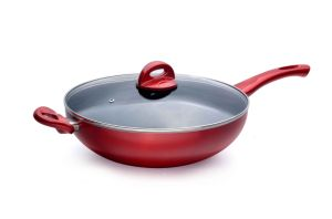 Wine Red Nonstick Wok with Lid