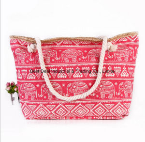 The New National Wind Cloth Fabric Handbags Fashion Printing Canvas Bag Large Capacity Travel Shoulder Bag Beach Bag