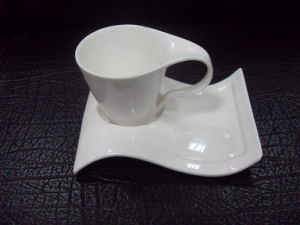 Custom Specialized Plain White New Shape Porcelain Coffee Cup And Saucer Plates Wsy631m
