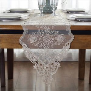 China European Lace Embroidered Dining Table Flag Long Square