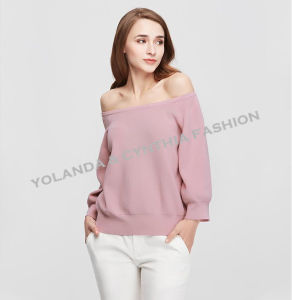 Fashion Women′s off Shoulder Leisure Sweater Colorful Knitwear