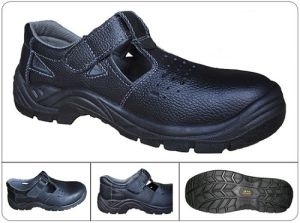 Black Printed Leather Summer Breathable Safety Shoes Ce En 20345