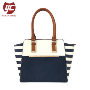 LC-030 Latest Women Contrast Color Artificial Leather Shoulder Bag Striped White&Black Large Business Casual Tote Handbag