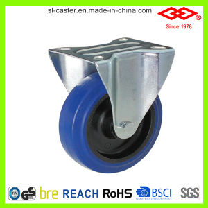 80mm Blue Elastic Rubber Fixed Type Caster (D102-23D080X32) pictures & photos