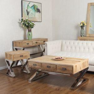 China Modern Cross Leg Wood Storage Coffee Table With Drawers