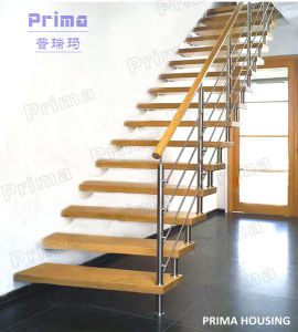 Steel Wood Straight Staircase L Shape Stair pictures & photos