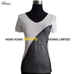 Chiffon Design Ladies V Neck S/S Pullover Knitted Clothing (BR065)