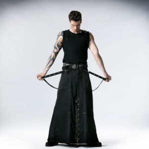 Punk Decadent Gothic Rock Long Men Skirt (Q-237)