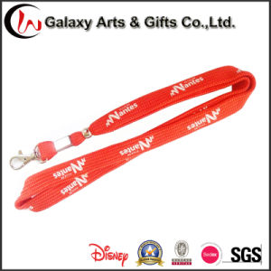 Screen Printed Red Tubular Polyester Lanyard with Metal Hook