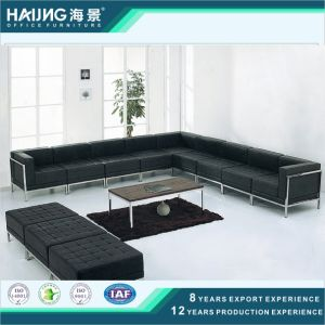 China Factory Customized Modern Office Sofa Design Black Pu Leather