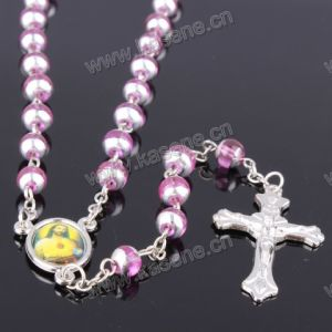 6mm Baking Varnished Pink Color Glass Rosary, Religious Catholic Rosary Beads