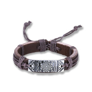 Wholesale Silver Plated Braided Adjustable Cross Leather Bracelet