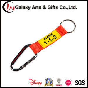 Custom Wholesale Polyester Rubber Carabiner Lanyard with Keyring