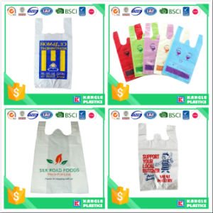 Plastic Colorful T-Shirt Bag on Block pictures & photos