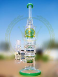 Multi-Layer Tower Design Recycler Glass Smoking Water Pipe with Return Pipe pictures & photos