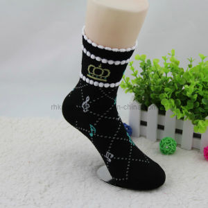 Cotton Women Socks with Music Symbol Design Wsp-09