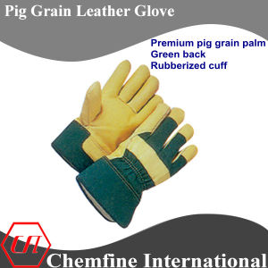Full Palm, Rubberized Cuff, Green Pig Grain Leather Work Gloves pictures & photos