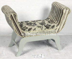 Marvelous Vintage Fabric Wooden U Shape Single Seat Ottoman Bench Theyellowbook Wood Chair Design Ideas Theyellowbookinfo
