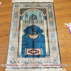 Muslim Silk Prayer Rugs Ic Mosque Small Handmade Carpet 2 5x4 Blue 240l 400kpsi