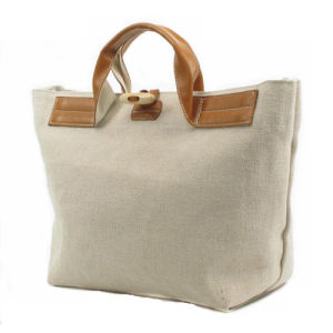 617f3a9b6fa Canvas Tote Bag with Faux Leather Handles