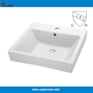 600mm Bathroom Ceramic Cupc Rectangular Drop-in Wash Basin (SN124-068)